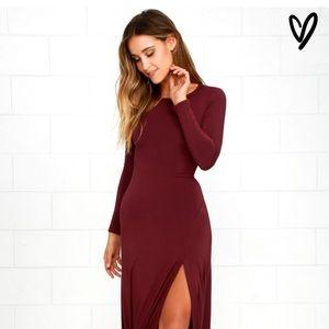 Lulus Maroon Maxi Dress with side slit (S)